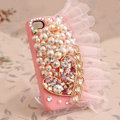 Heart lace Bling Crystal Case pearl Cover shell for iPhone 5 - Pink