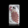 Peacock Bling Crystal Case Rhinestone Cover shell for LG E400 Optimus L3 - Pink