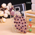 Peacock Bling Crystal Case Rhinestone Cover shell for LG E400 Optimus L3 - Purple