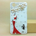 Pretty girl Bling Crystal Case Rhinestone Cover shell for OPPO finder X907 - White