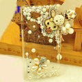 Rabbit tassel Bling Crystal Case pearl Cover shell for LG E400 Optimus L3 - White
