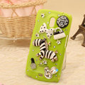 Zebra Bling Crystal Case Rhinestone Cover for Samsung i9250 GALAXY Nexus Prime i515 - Green