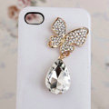 Alloy Butterfly Crystal Metal DIY Phone Case Cover Deco Kit - White