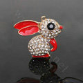 Alloy Rabbit Crystal Metal DIY Phone Case Cover Deco Kit - Red
