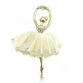 Ballet girl Alloy Crystal Metal DIY Phone Case Cover Deco Kit - Beige