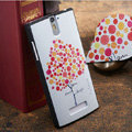 Colored tree Painting Cover Matte Hard Case Skin for OPPO X909 Find 5 - White