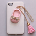 Crystal shoes Alloy Tassel Metal DIY Phone Case Cover Deco Kit - Pink
