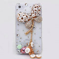 Dragonfly Bling Crystal Case Rhinestone Cover shell for iPhone 4G 4S - White