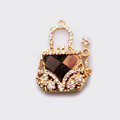 Flower Handbag Crystal Alloy Metal DIY Phone Case Cover Deco Kit - Gold