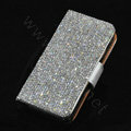 Luxury Bling Holster Cover Crystal Leather Case for iPhone 5 - White