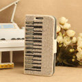 Luxury Bling Holster Cover Piano Crystal Leather Case for Samsung Galaxy SIII S3 I9300 I9308 I939 I535 - White