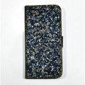 Luxury Bling Rollover Holster Cover Crystal Leather Case for iPhone 5 - Blue