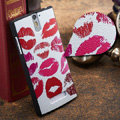 Red lips Painting Cover Matte Hard Case Skin for OPPO X909 Find 5 - White