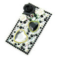 Black 3D Flower Crystal Bling Rhinestone mobile phone DIY Craft Jewelry Stickers