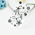 Black Star Flower Crystal Bling Rhinestone mobile phone DIY Craft Jewelry Stickers