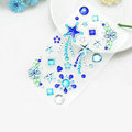 Blue Star Flower Crystal Bling Rhinestone mobile phone DIY Craft Jewelry Stickers