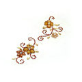 Brown Flower Crystal Bling Rhinestone mobile phone DIY Craft Jewelry Stickers