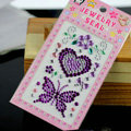 Purple Butterfly Love Crystal Bling Rhinestones mobile phone DIY Craft Jewelry Stickers
