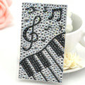 White Musical notes Crystal Bling Rhinestone mobile phone DIY Craft Jewelry Stickers