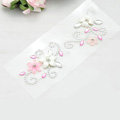 White Pink Flower Crystal Bling Rhinestone mobile phone DIY Craft Jewelry Stickers