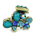 Hair Jewelry Crystal Butterfly Gold Plated Metal Rhinestone Hair Clip Claw Clamp - Blue