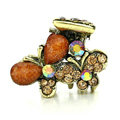 Hair Jewelry Crystal Butterfly Gold Plated Metal Rhinestone Hair Clip Claw Clamp - Coffee