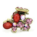 Hair Jewelry Crystal Butterfly Gold Plated Metal Rhinestone Hair Clip Claw Clamp - Pink