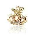 Hair Jewelry Crystal Crown Gold Plated Metal Rhinestone Hair Clip Claw Clamp - Champagne