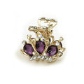 Hair Jewelry Crystal Crown Gold Plated Metal Rhinestone Hair Clip Claw Clamp - Purple