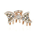 Hair Jewelry Crystal Rhinestone Bowknot Metal Hair Clip Claw Clamp - Black