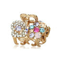 Hair Jewelry Crystal Rhinestone Bowknot Metal Hair Clip Claw Clamp - Multicolor