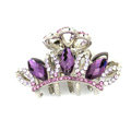 Hair Jewelry Crystal Rhinestone Crown Gold Plated Metal Hair Clip Claw Clamp - Purple