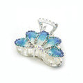 Hair Jewelry Crystal Rhinestone Glaze Metal Hair Clip Claw Clamp - Blue