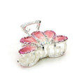 Hair Jewelry Crystal Rhinestone Glaze Metal Hair Clip Claw Clamp - Pink