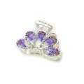 Hair Jewelry Crystal Rhinestone Glaze Metal Hair Clip Claw Clamp - Purple