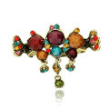 Hair Jewelry Crystal Rhinestone Vintage Metal Hair Clip Claw Clamp - Multicolor