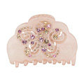 Hair Jewelry Floral Diamond Rhinestone Crystal Hair Clip Claw Clamp - Pink