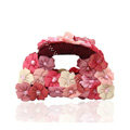 Hair Jewelry Flower Fabric Crystal Rhinestone Hair Claw Clip Clamp - Pink