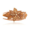 Hair Jewelry Rhinestone Crystal Flower Hairpin Hair Clip Claw Clamp - Coffee