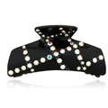 Hair Jewelry Rhinestone Crystal Resin Hair Clip Claw Clamp - Black