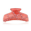 Hair Jewelry Rhinestone Crystal Resin Hair Clip Claw Clamp - Pink