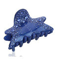 Hair Jewelry Rhinestone Crystal Starfish Hair Clip Claw Clamp - Blue