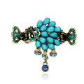Retro Sparkly Crystal Peacock Metal Hair Barrette Clip Hair Claw Clamp - Blue