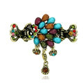 Retro Sparkly Crystal Peacock Metal Hair Barrette Clip Hair Claw Clamp - Multicolor
