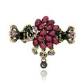 Retro Sparkly Crystal Peacock Metal Hair Barrette Clip Hair Claw Clamp - Purple