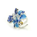Sparkly Crystal Flower Metal Rhinestone Hair Clip Claw Clamp - Blue