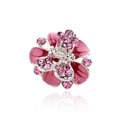 Sparkly Crystal Flower Metal Rhinestone Hair Clip Claw Clamp - Pink