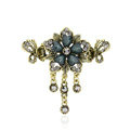 Vintage Sparkly Crystal Flower Gold Plated Metal Hair Barrette Clip Hair Accessory - Gray