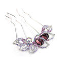 Elegant Hair Jewelry Crystal Rhinestone Flower Metal Hairpin Clip Comb - Purple