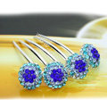 Elegant Hair Jewelry Rhinestone Crystal Ball Metal Hairpin Clip Comb - Blue